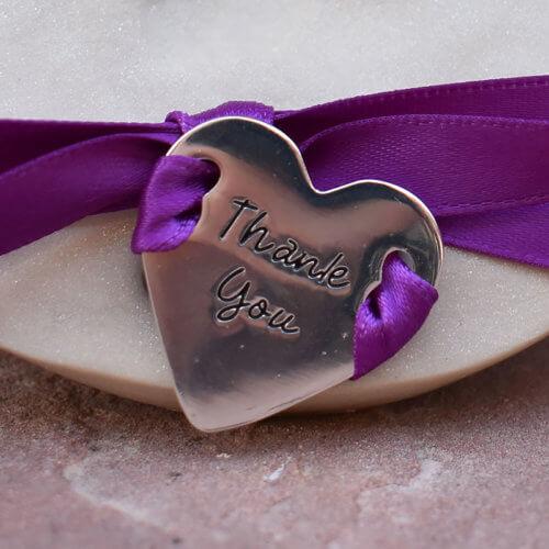 Thank You Ribbon Heart Charm Close Up